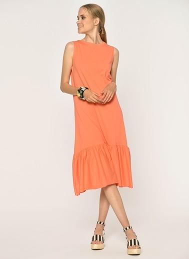 Loves You Eteği Fırfırlı Likralı Kolsuz Örme Elbise Oranj
